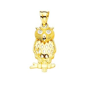 14k yellow gold Owl Pendant necklace
